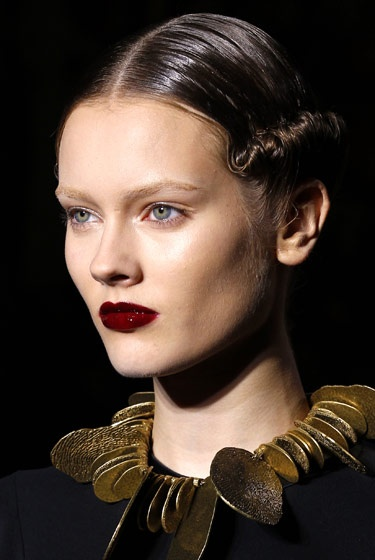 Glossy Cabernet lips at Yves Saint Laurent.