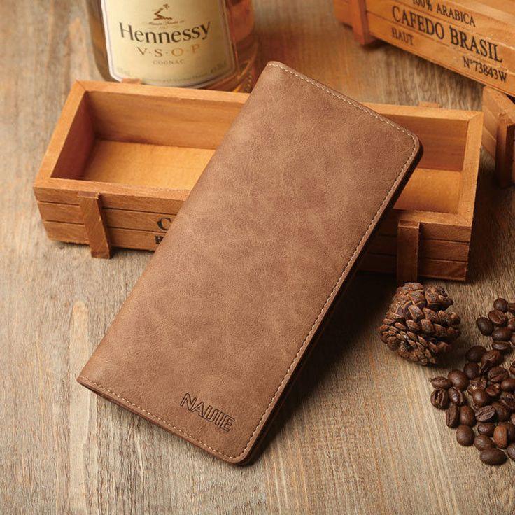 Men's Bifold Leather Credit Card Holder Breast Pocket Checkbook Wallet Purse фото
