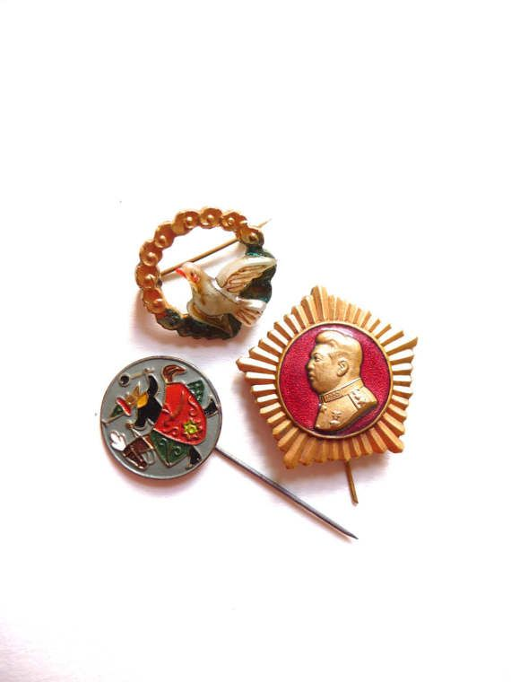 Vintage Russian Metal Pins Retro Midcentury Stickpin Badge