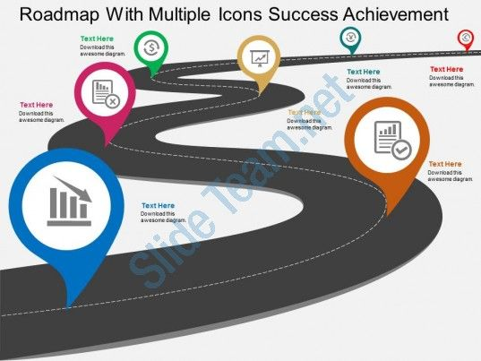 roadmap with multiple icons success achievement flat powerpoint design Slide01