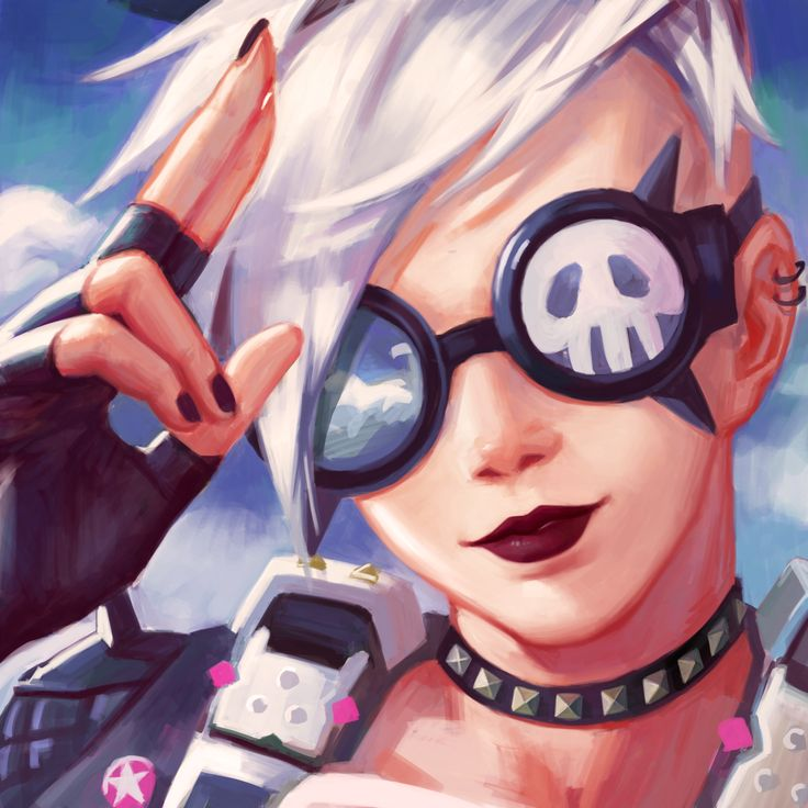 TRACER Ultraviolet white hair version of her punk skin in Overwatch