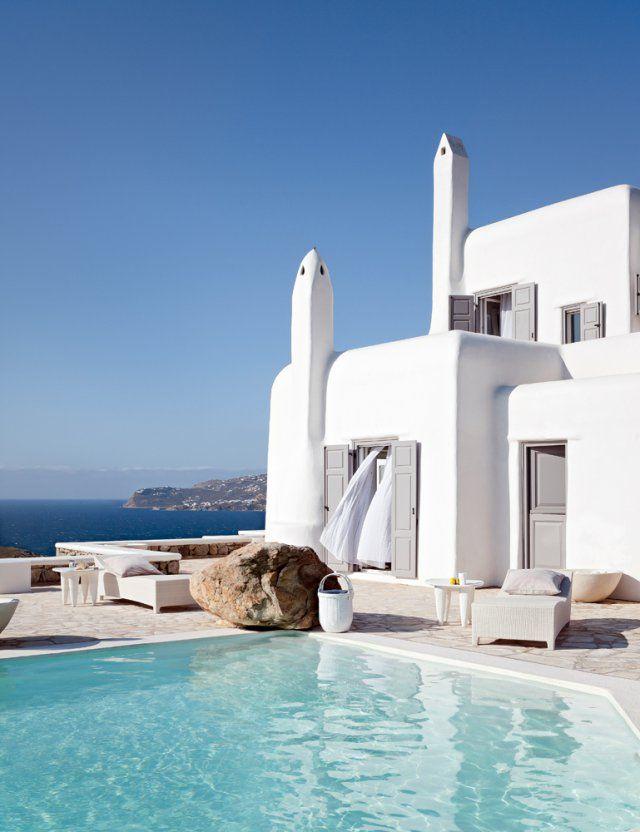 maison à la chaux, villa à la chaux, mykonos, piscine, mer égée, grèce