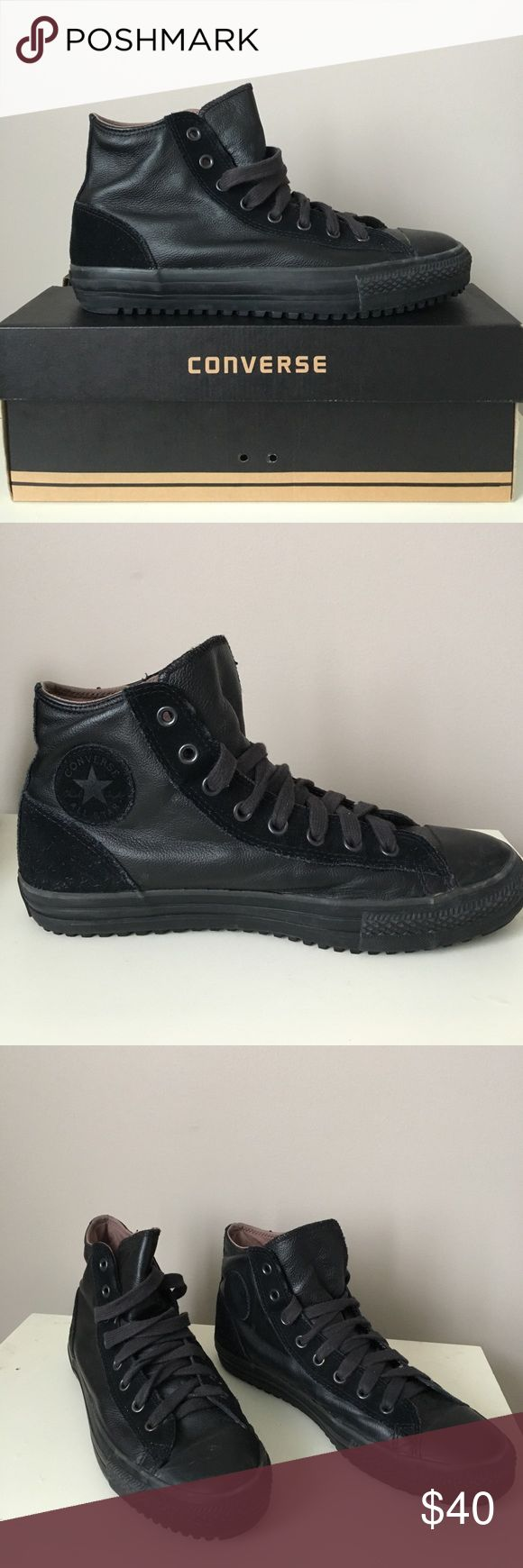 BRAND NEW Leather Converse High Tops Brand new, in box Converse high top sneakers in black leather with black suede high tops Converse Shoes Sneakers