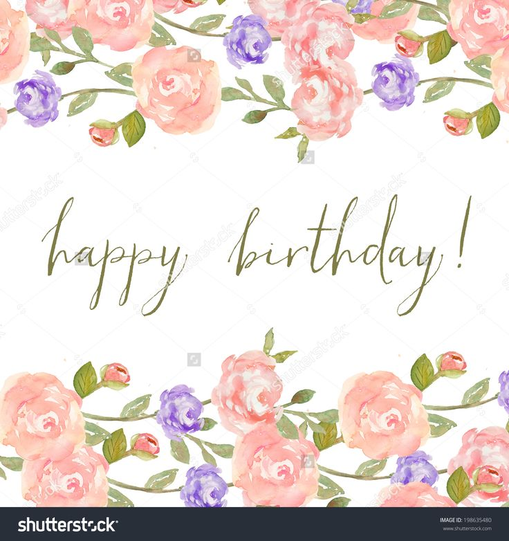 Watercolor Peony Flower Frame With Happy Birthday Calligraphy Happy Birthday Fonts Happy