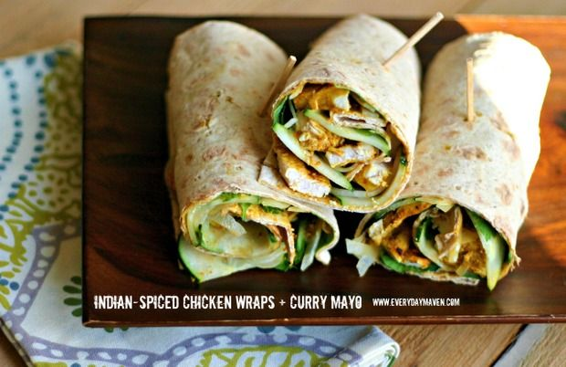 Indian Spiced Chicken Wraps with Curry Mayonnaise. 8 Weight Watchers Points Plus Per Wrap. Serves 4