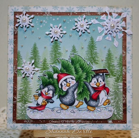 Whimsy Stamps card by Shannah Bartle using 'Penguins Carry the Tree' from Crissy Armstrong and Elegant Snowflake Die Set.