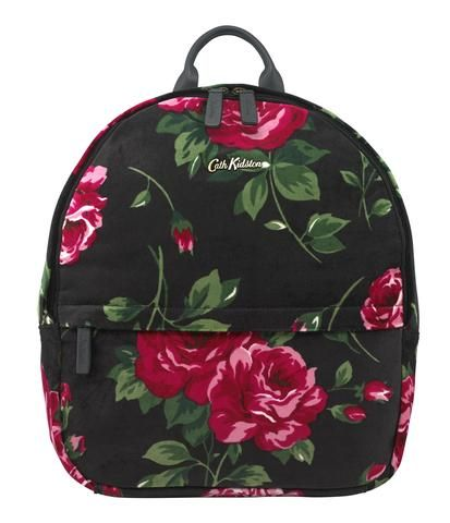 Cath Kidston Ardingly Rose charcoal velvet backpack
