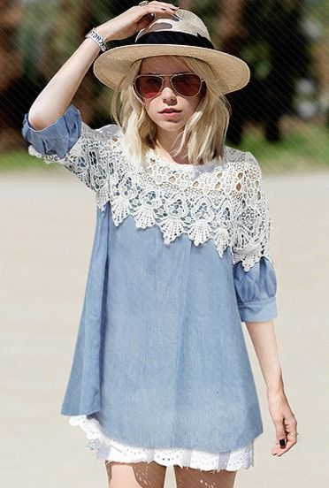 Blue Contrast Lace Hollow Denim Dress by: SheInside @SheInside