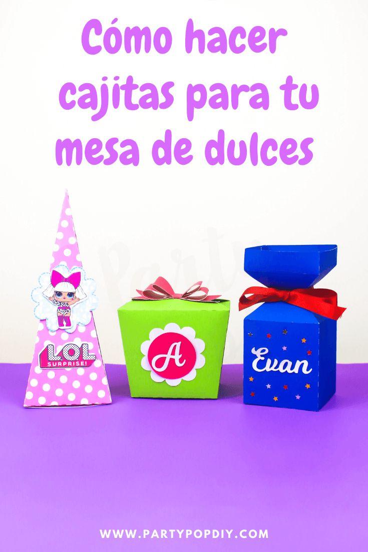 Como hacer cajitas para tu mesa de dulces #cajitas #mesadulces #dulceros #cajas Cajitas de regalo Baby Shower, Diy, Cakes, Gift Boxes, Birthday Cards, Sachets, Candy Stations, Parties Kids, Tutorials