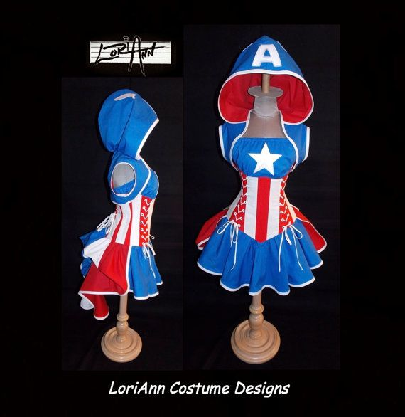 """24-27"""" Waist CAPTAIN AMERICA Costume Hoodie Shrug Bustle with Red and White Stripe Corset by LoriAnn"""