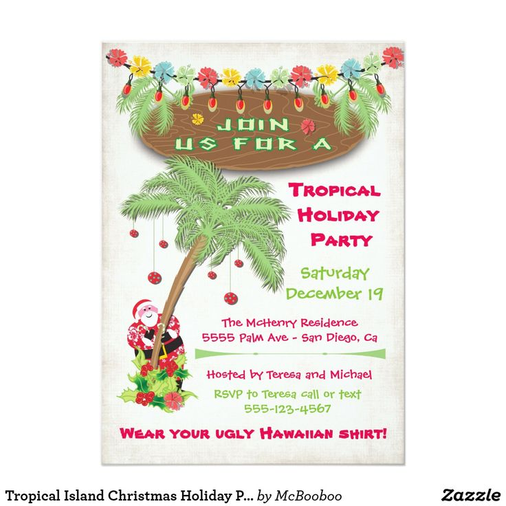 Tropical Island Christmas Holiday Party Invitation Super fun Tropical Beach themed Holiday Christmas Party invitation with hibiscus flowers, holly, christmas lights and Santa peeking around a palm tree with ornaments. Soft warm antique background. Hand drawn illustration.