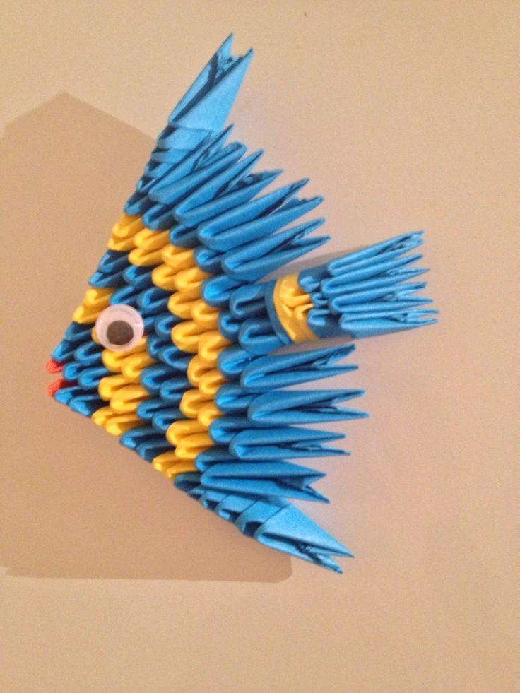 Poisson en origami 3D ou modulaire jaune et bleu : Accessoires de maison par mes-bracelets-shamballas