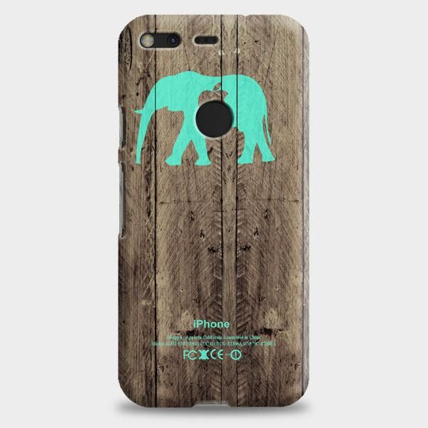 Mint Chevron Elephant On Dark Wood Background Google Pixel Case