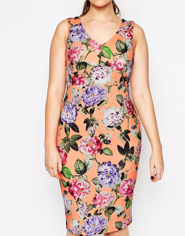 bright spring floral print plus size wedding guest outfit