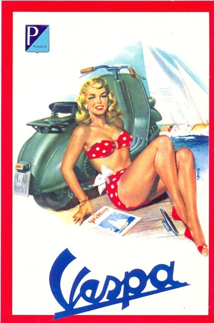 Vintage Vespa posters are cool, so is the lady's swimming costume.