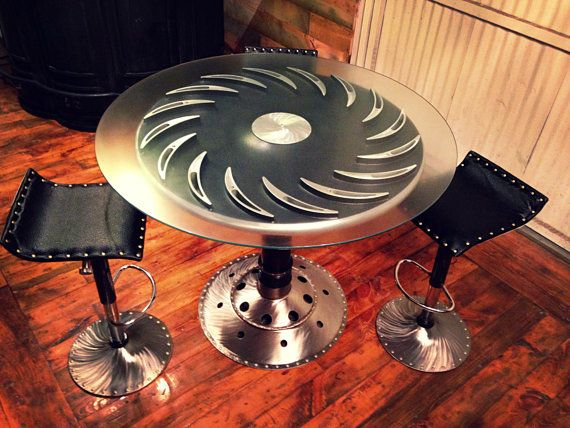 Aircraft Art Deco Style Table U0026 Stool Set / Industrial Modern Style /  Repurposed Aircraft Parts / Black Leather W/ Rivets / Bar Or Office