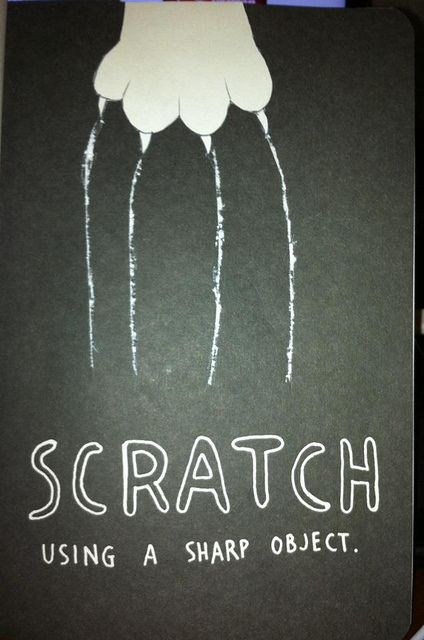 wreck this journal scratch pages | photo. Use black colored scratch paper