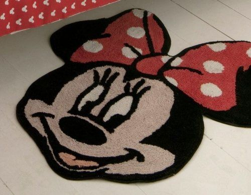 Red And Black Minnie Mouse Bathroom Rug