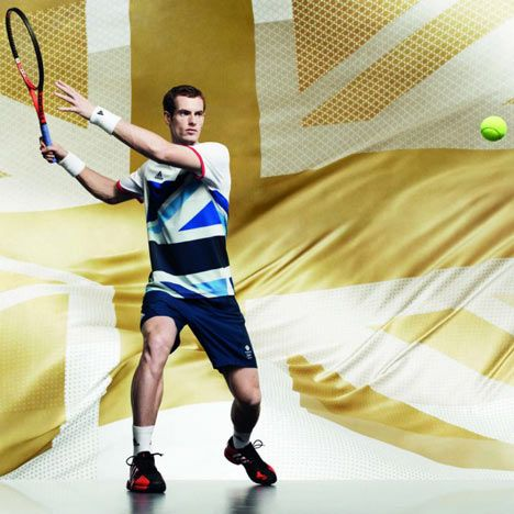 Andy Murray models the British kit for the  London 2012 Olympics designed by Stella McCartney
