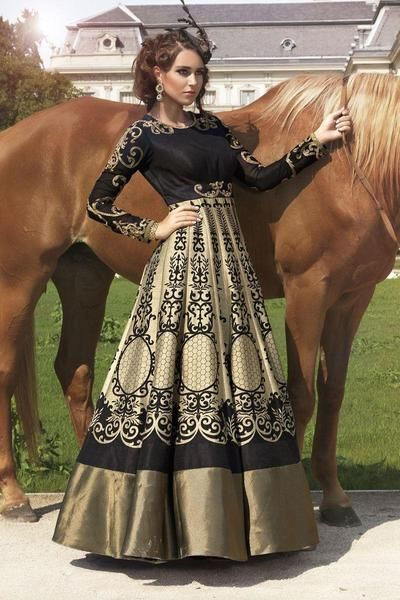 LadyIndia.com #Anarkali Suit, Designer Cream & Black Bhagalpuri Digital Print Gown Style Anarkali Suit For Women, Anarkali Suit, Designer Salwar Suit, https://ladyindia.com/collections/western-wear/products/laxmipathi-special-designer-exclusive-new-designer-black-digital-print-gown