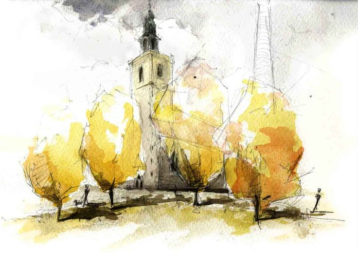 "architectural-review: "" Phillip Buckingham: Berlin church in watercolour and pencil - limited palette but a dramatic effect. """