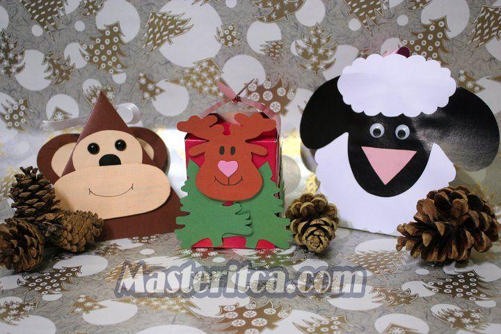 Обезьянка, Олень и Овца - коробочки для новогодних подарков и сладостей