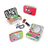 Altoid tin up cycle play idea. Silly face magnet man. Good for play on the go. Purse size. Glove box size. Portable toy. Altoid tin idea for kids.