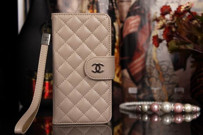 Chanel iphone 6 Case Design Leather Cover Book Wallet Cover grid khaki