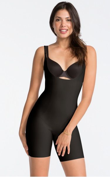 Spanx Thinstincts Open-Bust Mid-Thigh Bodysuit via @bestchicfashion