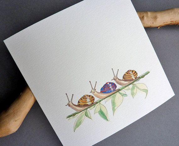 Snail Trail watercolour art greetings cards 2 by CardCreative, £4.00