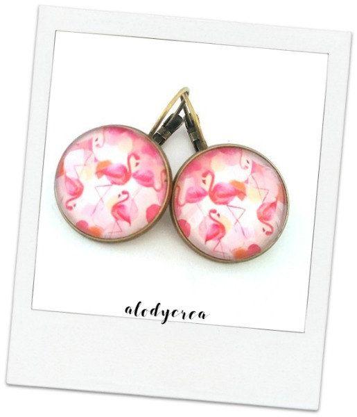 boucles d'oreilles flamants roses  cabochon en verre  par alodycrea - kawaii - flamingo - jewel - earrings
