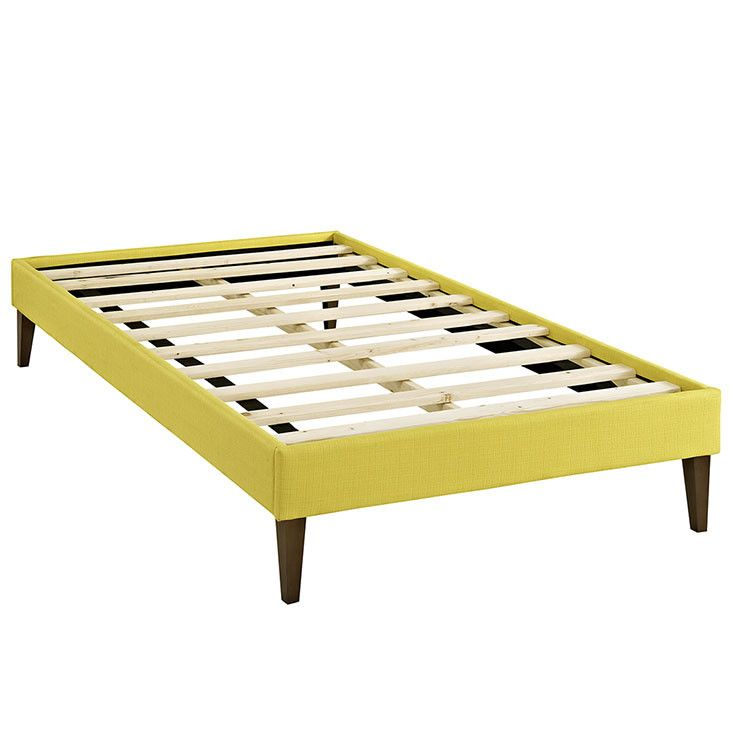 Sharon Twin Fabric Bed Frame with Squared Tapered Legs MOD-5348