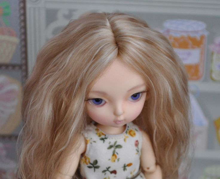 Highlights Blonde - Middle length Angora BJD wig by BlueberryStyle on Etsy
