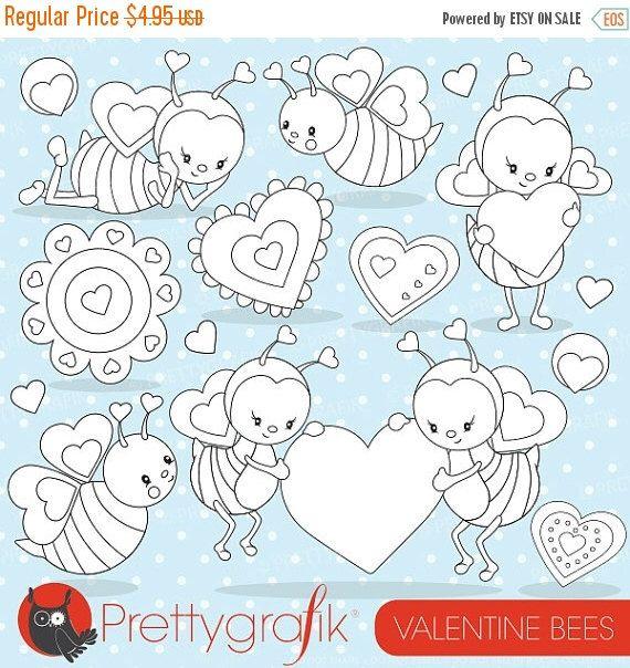 80% OFF SALE Valentine bee digital stamp commercial use, vector graphics, digital stamp, digital images - DS796 by Prettygrafikdesign on Etsy https://www.etsy.com/uk/listing/219218562/80-off-sale-valentine-bee-digital-stamp