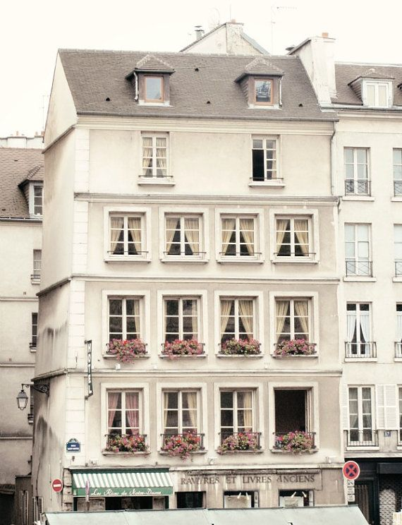 Windows of Paris Photo-Pink-White-Apartment-Dollhouse-Flowers-House-Garden- 8x10 by chezjolly #etsy