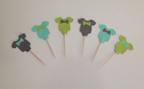 Bébé douche Cupcake Toppers Baby Boy Onesies par HoneygoDesigns