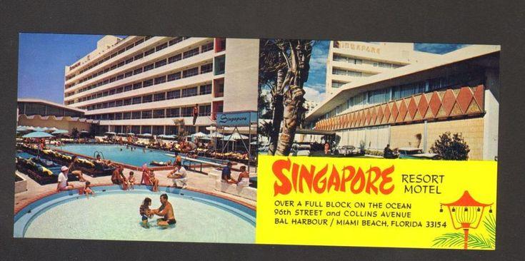 Undated Unused Postcard Singapore Resort Motel Miami Beach Florida FL