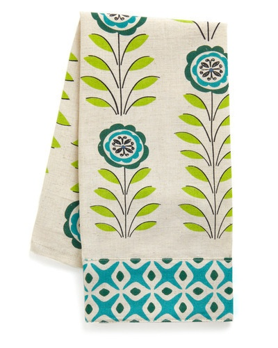 cute printed hand towel: Decor, Floral Prints, Teatowel, Teas Towels, Blue And Green Kitchens Towels, Tea Towels, Kitchens Inspiration, Dishes Towels, Kitchens Color