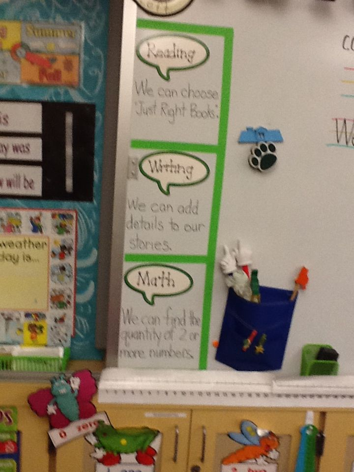 Kindergarten Learning Goals are visible!