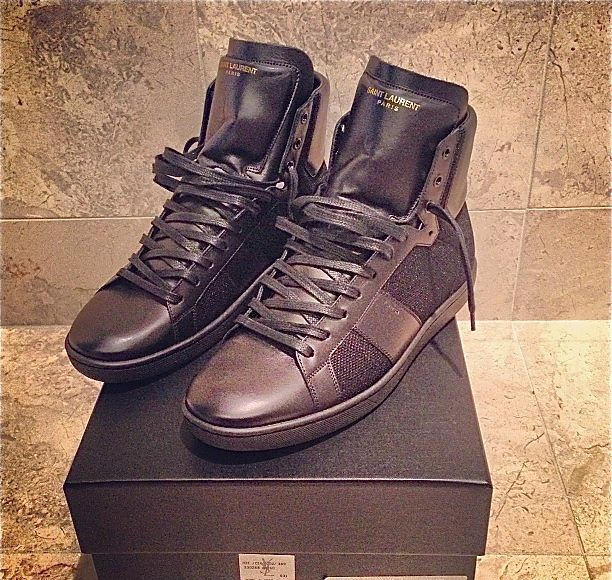 Saint Laurent Paris 2013 Pre-Fall Mix Fabric High-Top Leather Sneakers