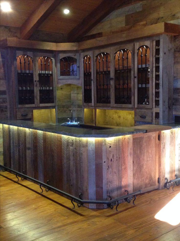 Custom vintage reclaimed wood barn siding bar