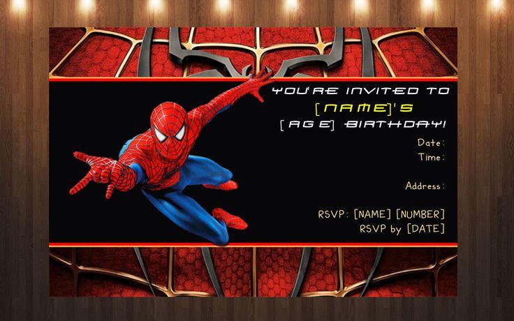 Custom Spiderman Invitation Prints