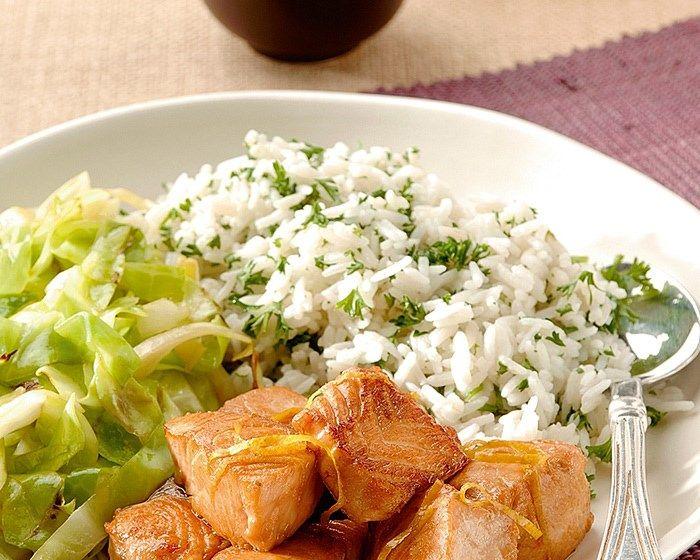 Zalm wokken met marinade. recept
