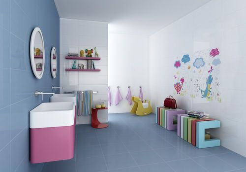 Carrelage mural en c ramique de salle de bain motif for Ceramique murale pour salle de bain
