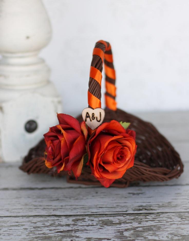 Rustic Fall Flower Girl Basket AND Ring Bearer by braggingbags