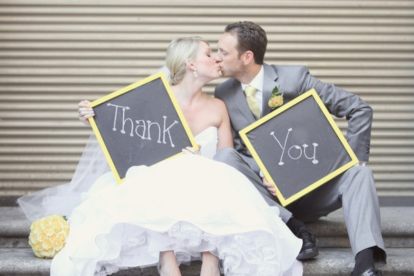 Yellow and gray wedding thank ou photo. Thank you card pic. @Kaylee Score Score Score Score rademacher