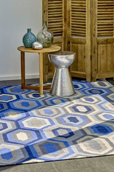 Noumea - A vibrant blue, grey and natural white design flatweave NZ wool rug.  Available to see in store now and available to order in the following sizes:  160 x 230, 200 x 290, 250 x 350