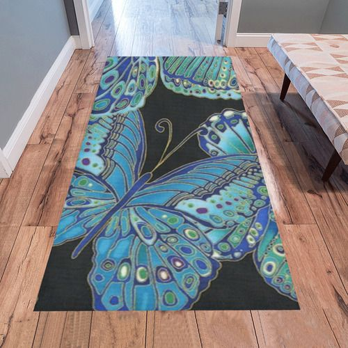 Teal Butterfly Pattern Area Rug 7'x3'3''