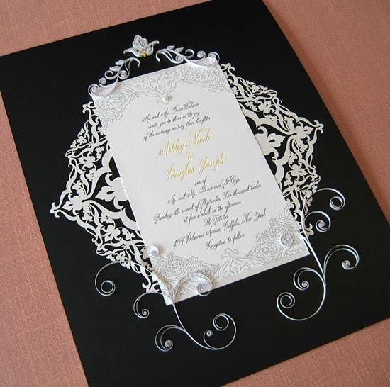 Partecipazioni quilling elegante nera. #wedding #wedding invitations