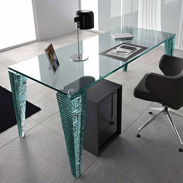 This Desk Was Made With Custom Cut Glass From Dulles Glass U0026 Mirror. The Glass  Desk Top Was Applied To The Legs With Construction Glue.